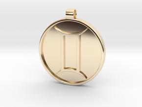 Zodiac KeyChain Medallion-GEMINI in 14K Yellow Gold