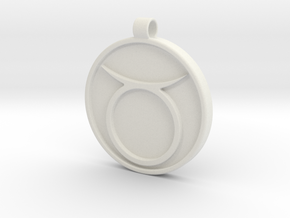 Zodiac KeyChain Medallion-TAURUS in White Natural Versatile Plastic