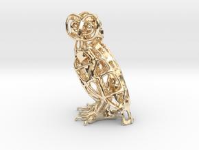 Barn Owl Pendant in 14K Yellow Gold