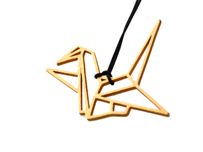 Pendant Origami Crane in Polished Gold Steel
