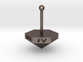 Teetotum - Six sided die spinning top in Polished Bronzed Silver Steel