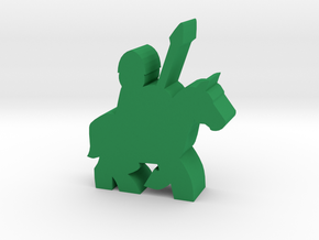 Game Piece, Spearman On Running Horse - Large in Green Processed Versatile Plastic