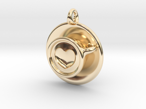 Coffee Love Pendant in 14K Yellow Gold