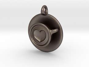 Coffee Love Pendant in Polished Bronzed Silver Steel