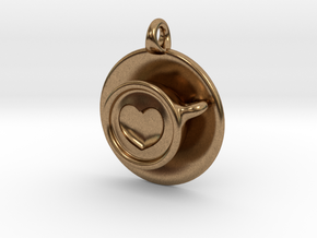 Coffee Love Pendant in Natural Brass