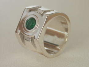 Green Lantern ring size 7 in Polished Silver