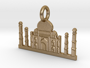 Taj Mahal, Agra, India Charm in Polished Gold Steel