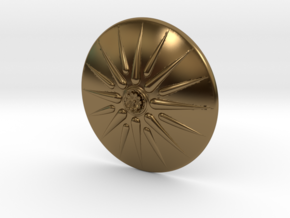 Sun of Vergina Belt Buckle, Detailed Center in Polished Bronze