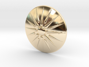 Sun of Vergina Belt Buckle, Simplified Center in 14k Gold Plated Brass