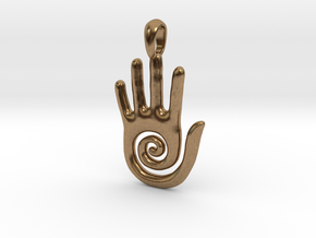 Hopi Spiral Hand Creativity Symbol Jewelry Pendant in Natural Brass