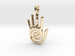 Hopi Spiral Hand Creativity Symbol Jewelry Pendant in 14k Gold Plated Brass
