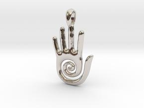 Hopi Spiral Hand Creativity Symbol Jewelry Pendant in Rhodium Plated Brass