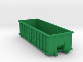 Industrial Dumpster 30yd - HO 87:1 Scale in Green Strong & Flexible Polished