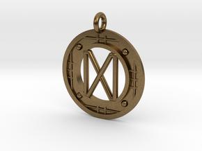 Happiness and success Tartan Rune Pendant in Natural Bronze