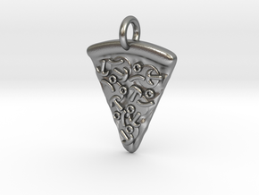 Pizza Pendant in Natural Silver
