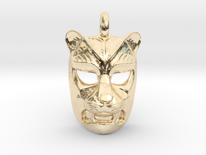 Leopard kabuki-style Pendant in 14k Gold Plated Brass