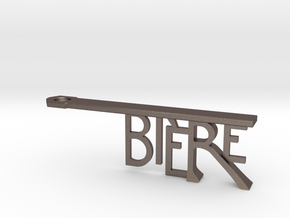 Bière Bottle Opener Keychain in Polished Bronzed Silver Steel