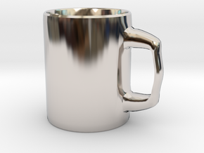 Designers Mug for Coffee or else in Rhodium Plated Brass