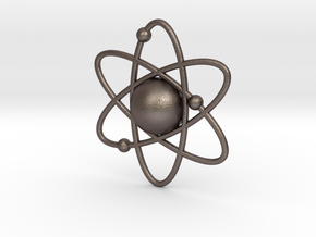 Atom Necklace Charm in Polished Bronzed Silver Steel