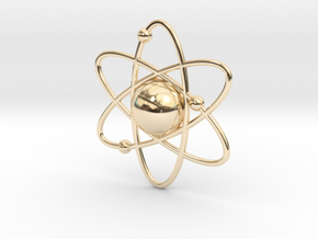 Atom Necklace Charm in 14k Gold Plated Brass