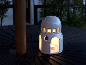 Dome Lantern - Extended version in Gloss White Porcelain