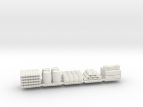 Cargo On Skids (Qty 5) - HO 87:1 Scale in White Natural Versatile Plastic
