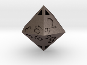 Sphericon-based d12: hollow in Polished Bronzed Silver Steel