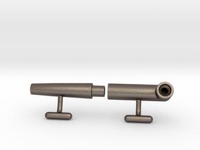 Pufflinks in Polished Bronzed Silver Steel