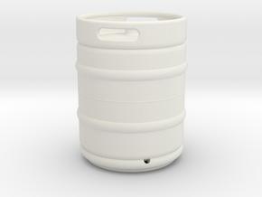 1/10 Scale Beer keg (standard) in White Natural Versatile Plastic