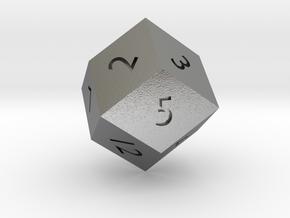 Rhombic 12-sided die in Natural Silver