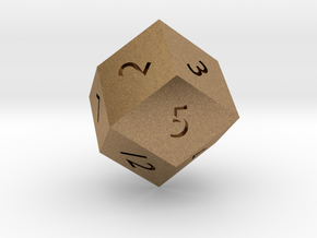 Rhombic 12-sided die in Natural Brass