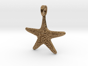 Starfish Symbol 3D Sculpted Jewelry Pendant in Natural Brass