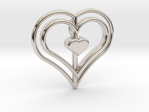 Three Heart Pendant in Rhodium Plated Brass