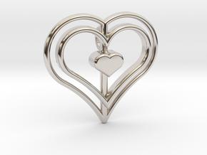 Three Heart Pendant in Rhodium Plated Brass