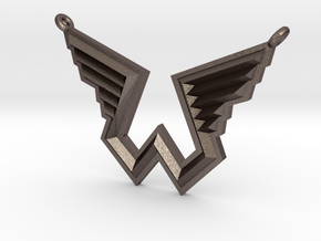 Wings Logo Necklace Pendant in Polished Bronzed Silver Steel