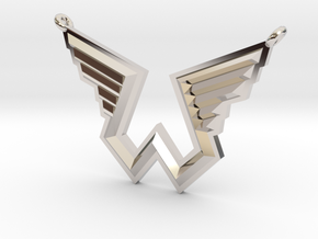 Wings Logo Necklace Pendant in Rhodium Plated Brass