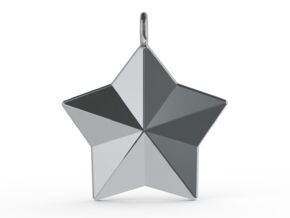 Geometric Star Pendant in Polished Silver