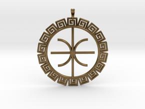 Delphic Apollo E Ancient Greek Jewelry Symbol 3D  in Polished Bronze