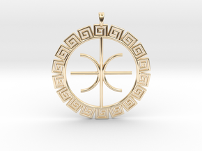 Delphic Apollo E Ancient Greek Jewelry Symbol 3D  in 14K Yellow Gold