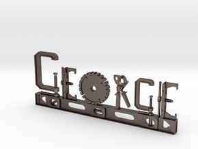 George Nametag in Polished Bronzed Silver Steel
