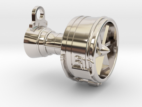 Turbofan Engine Key Fob in Rhodium Plated Brass