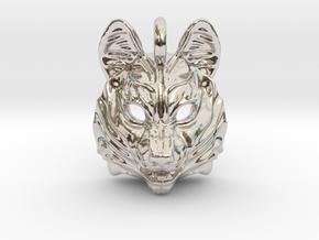 Siberian Husky Pendant in Rhodium Plated Brass