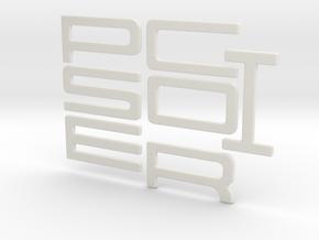 PORSCHE Style Letters in White Natural Versatile Plastic