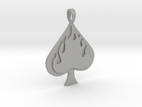Flaming SPADE Jewelry Symbol Lucky Pendant  in Aluminum