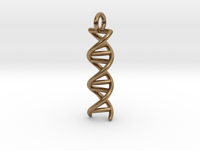 DNA Double Helix Pendant in Natural Brass