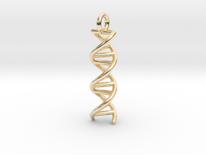 DNA Double Helix Pendant in 14k Gold Plated Brass