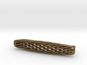 Skeleton Helix Tie Clip in Polished Bronze