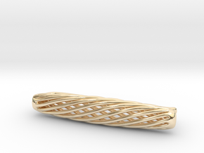 Skeleton Helix Tie Clip in 14k Gold Plated Brass