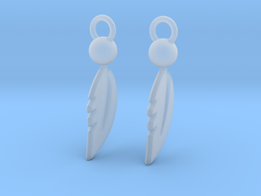 Feather Earrings in Smooth Fine Detail Plastic