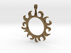 Tribal Sun Design Jewelry Symbol Pendant in Natural Bronze